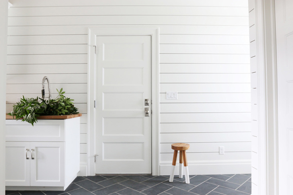 Studio McGee Creates An Indoor Outdoor Feel For The Mudroom With Shiplap Walls