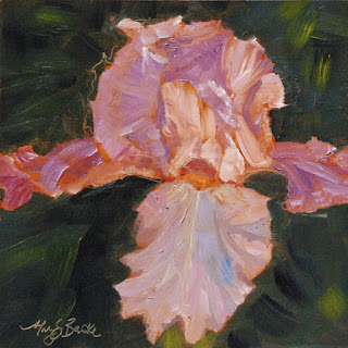 Lively, lavender iris still life oil painting by Mary Benke www.marybenke.com