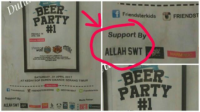 Banten Dihebohkan Pamflet Pesta Bir Bersponsor Tulisan Allah SWT
