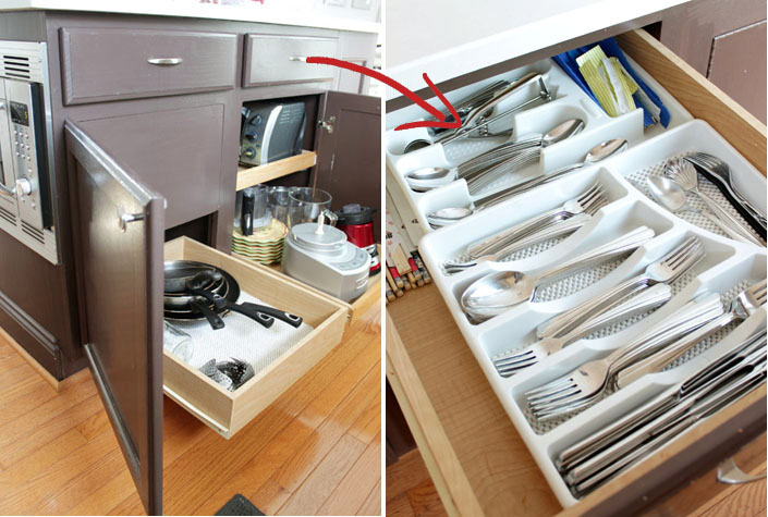 kitchen island with cheap plastic divider utensil