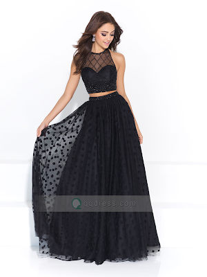 A-line Floor-length Beading Dotted Tulle Two Pieces Prom Dress