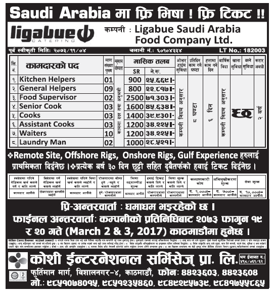 Free Visa Free Ticket Jobs in Saudi Arabia for Nepali, Salary Rs 71,303