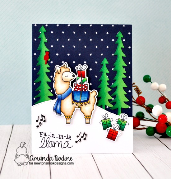 Fa-La-La-La Llama Delivery Card by Amanda Bodine | Llama Delivery Stamp Set, Land Borders Die Set and Forest Scene Builder Die Set by Newton's Nook Designs #newtonsnook #handmade
