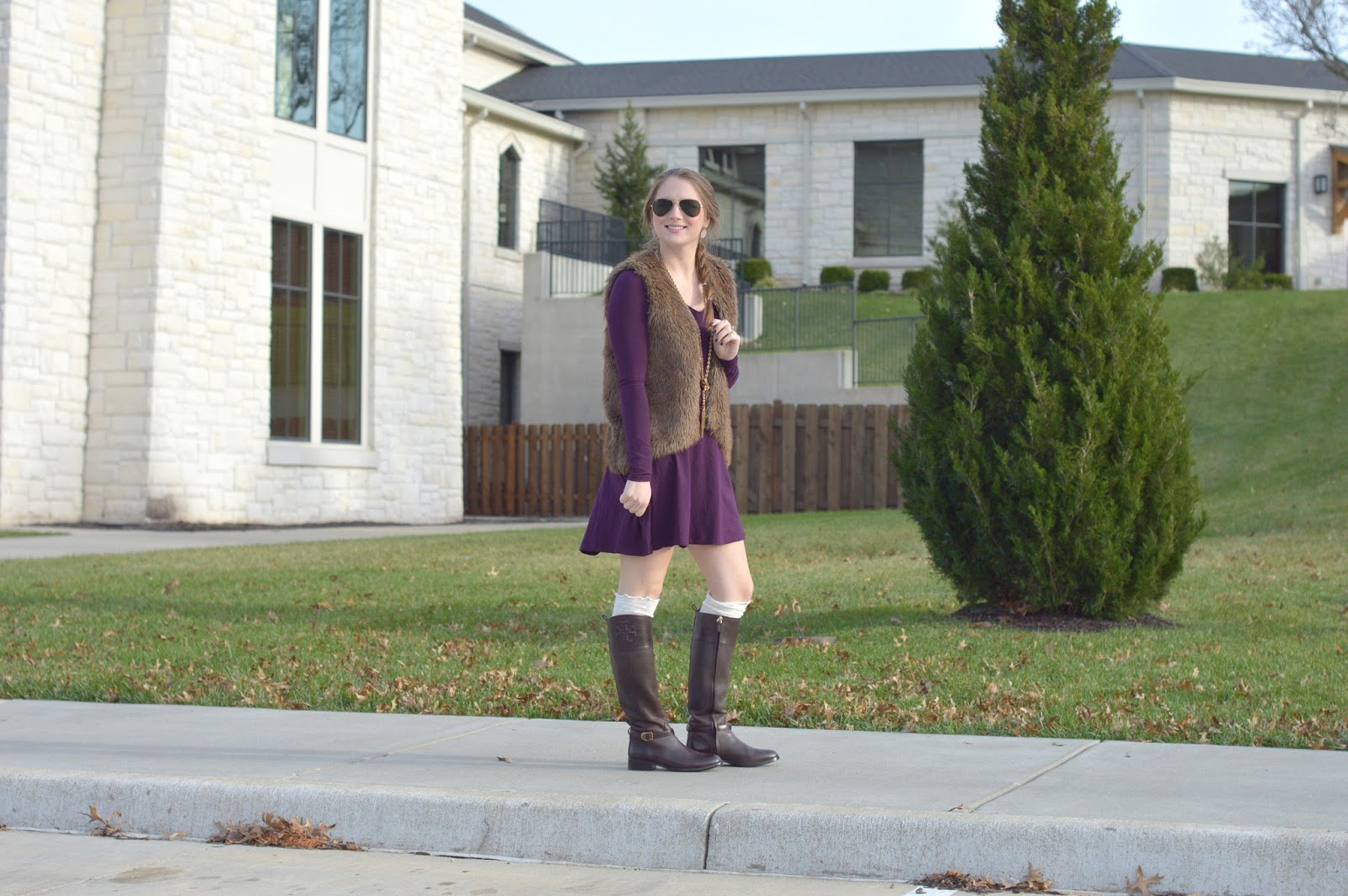 purple long sleeve dress