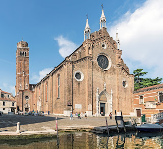 The Basilica of Santa Maria Gloriosa dei Frari was built on land granted by Doge Jacopo Tiepolo