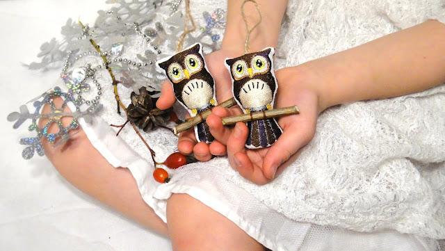 Совы - игрушки на елку. Безопасные елочные украшения ручной работы