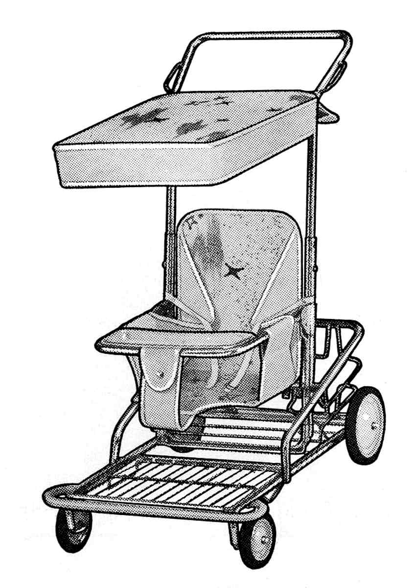 illustration of a 1960 baby stroller with starburst plastic upholstery