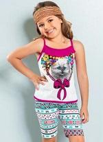 Conjunto Infantil de Verão Menina Branco e Estampado