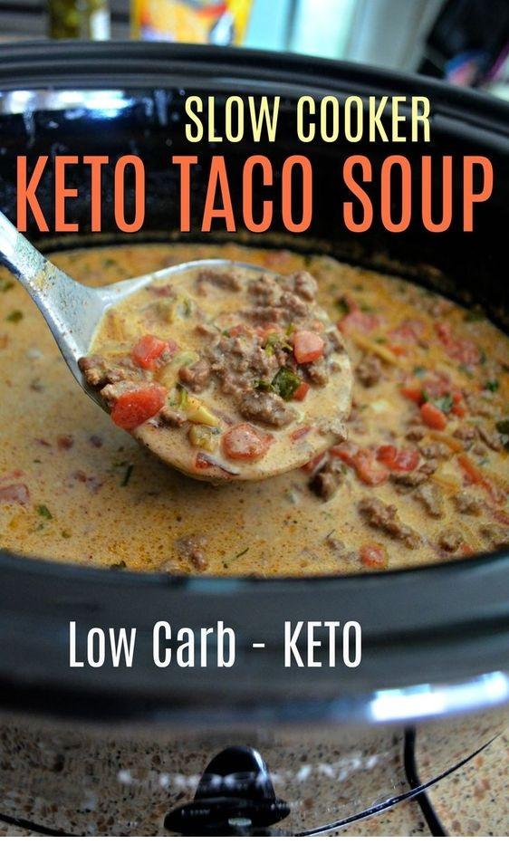 Easy Slow Cooker Keto Taco Soup