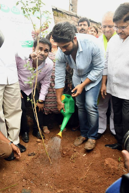 Allu arjun tree planting with family in haritha haram in his home