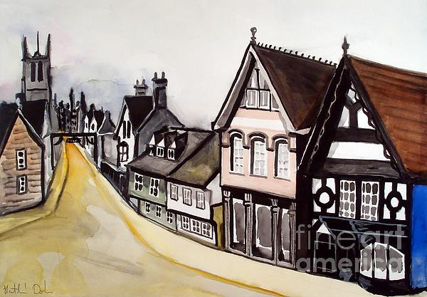 Hight Street of Stamford in England. Watercolor painting by Dora Hathazi Mendes