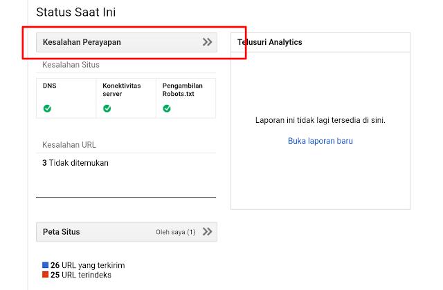 Sobat langsung klik Kesalahan Perayapan atau juga bisa melalui Perayapan --> Kesalahan Perayapan.