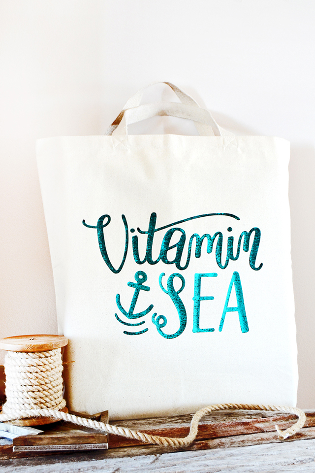 foiled canvas bag vitamin sea rope