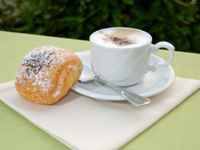 Morning Cappuccino at Eden Grand Hotel, Lake Lugano, Lugano, Switzerland