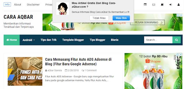 Trik Menciptakan Top Up Push Notifikasi Di Blogger Keren