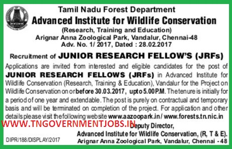VANDALUR-ZOO-JRF-RECRUITMENT-2017