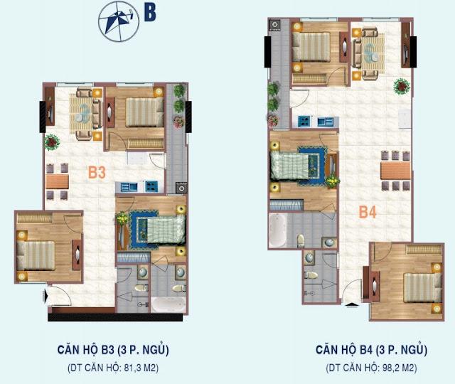 Mặt bằng căn 3 ngủ chung cư Liễu Giai Tower