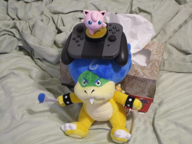 Ludwig Von Koopa plushie Nintendo Switch Joy-Con Grip hat on head Jigglypuff amiibo