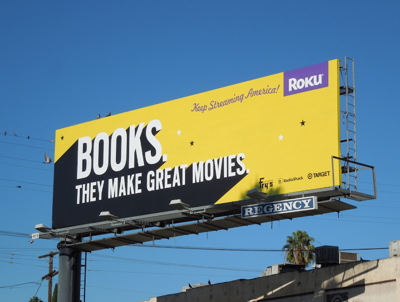 Books make movies Roku billboard