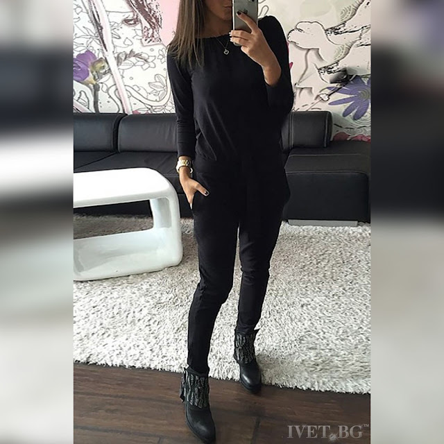 Γυναικεία μαύρη ολόσωμη φόρμα CAPRISE BLACK