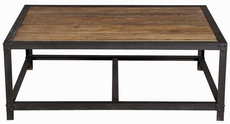 mesa centro madera vieja y forja