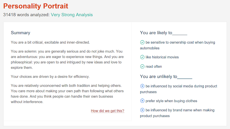My Twitter Personality Insights by IBM Watson