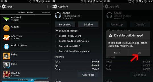 Delete unused Android apps