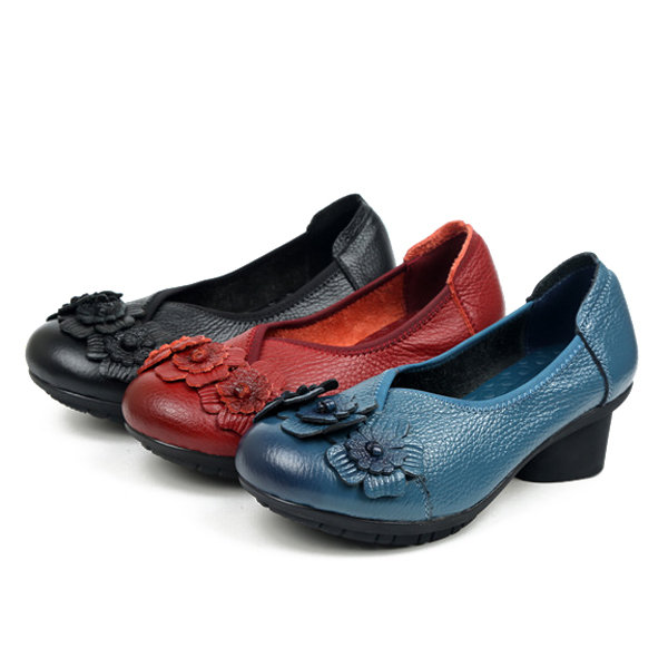Leather Mid Heel Vintage Handmade Flower Original Soft Shoes