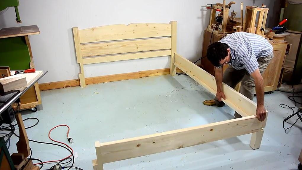 Diy como hacer una cama de dos plazas de madera pino f cil for Manual para hacer una cama de madera