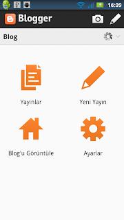 Blogger Ana İşlemler Menüsü