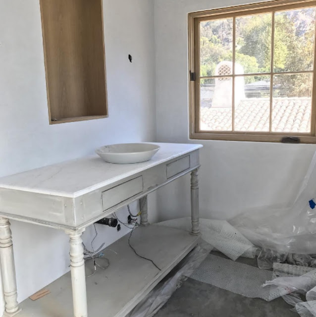 image result for during construction master bath Malibu Mediterranean Modern Farmhouse Giannetti Home