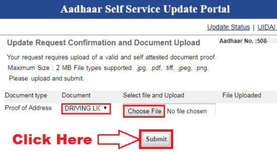 how to change address in aadhar card through online