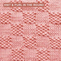 Moss Stitch Checks - knitting in the round
