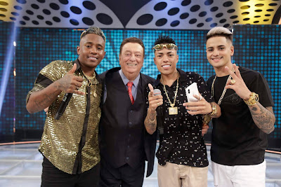 MC Dede, Raul Gil, MC Menor MR e MC Boy da Penha (Foto: Rodrigo Belentani)