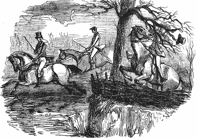 a John Leech cartoon of a clumsy horseman, 1850s