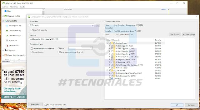 Lista de archivos del torrent en utorrent al agregarlo