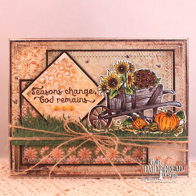 Our Daily Bread Designs Stamp Sets: Seasons Change, Honeycomb Mini, Our Daily Bread Designs Paper Collection: Blooming Garden, Our Daily Bread Designs Custom Dies: Flourished Star Pattern, Pierced Rectangles, Pierced Squares, Grass Hill, Wheelbarrow