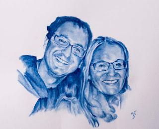 Retrato de una pareja en acuarela en gama de azules