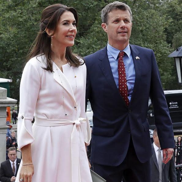 Crown princess Mary wore Christian Louboutin Python Pumps, new dress, dresscoat clutch bag