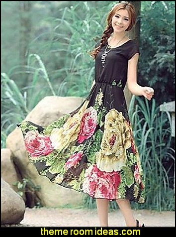 Women's Floral Black/Beige Dress , Casual Round Neck Short Sleeve