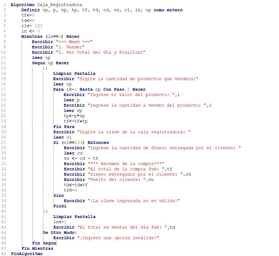Algoritmo que se comporta como una caja registradora