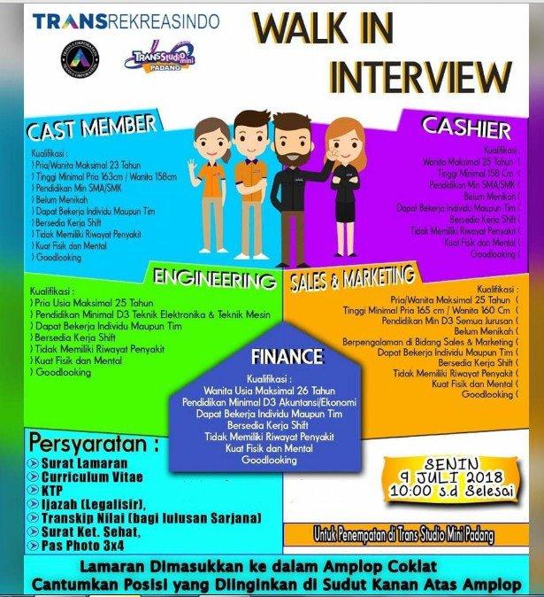 Walk in Interview (Senin 9-7-2018) TRANSREKREASINDO – Banyak Posisi