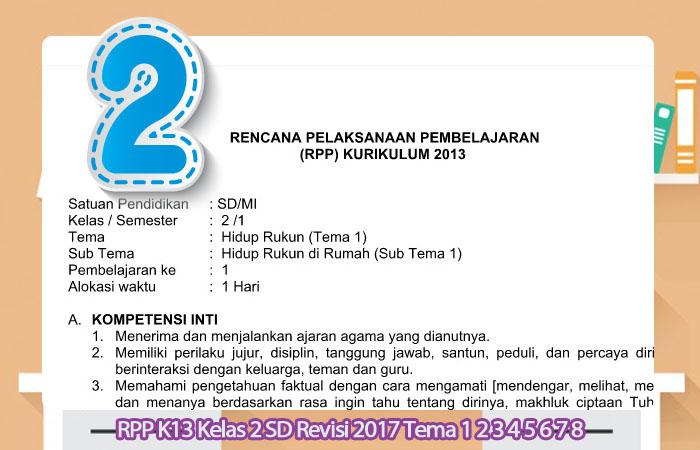 RPP K13 Kelas 2 SD Revisi 2017 Tema 1 2 3 4 5 6 7 8