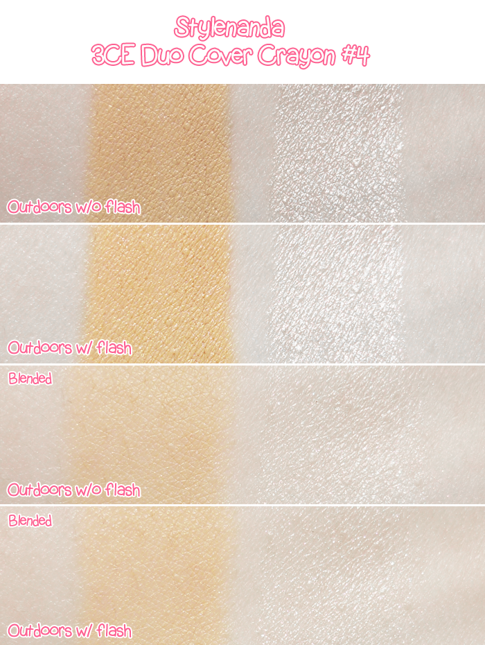Stylenanda 3CE Duo Cover Crayon #4 Review and Swatches