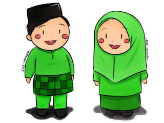 Gambar Lucu Animasi Kartun Islami Berpasangan