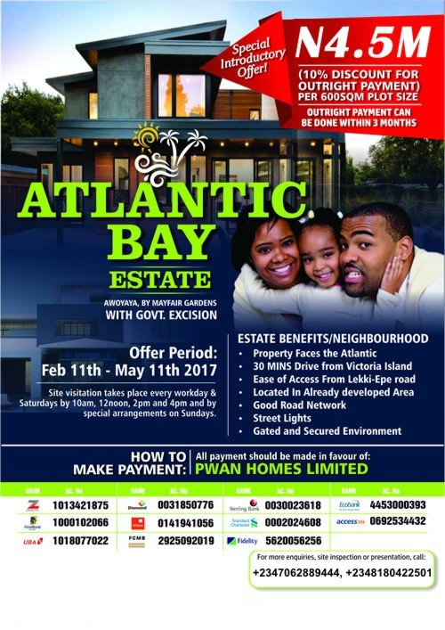 ATLANTIC BAY ESTATE, (BEHIND MAYFAIR GARDENS) AWOYAYA, LAGOS