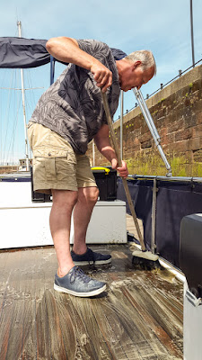 Photo of cleaning the aft deck