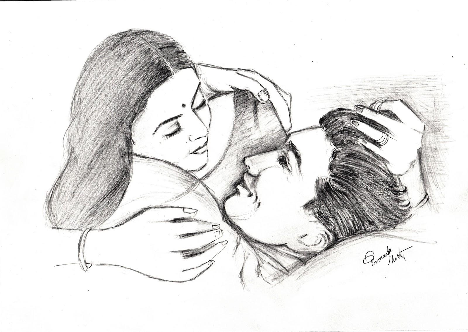 Romantic couple pencil drawing