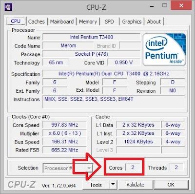 verificando número de núcleos do processador com cpuz