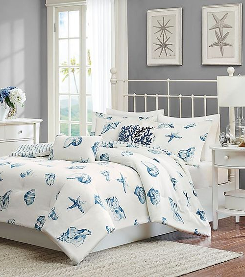 Blue White Seashell Bedding